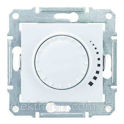 Диммер, светорегулятор поворотно - нажимной индуктивный 25-325 Вт проходной Schneider Sedna белый, фото 2