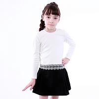 Блузка белая с кружевом для девочки