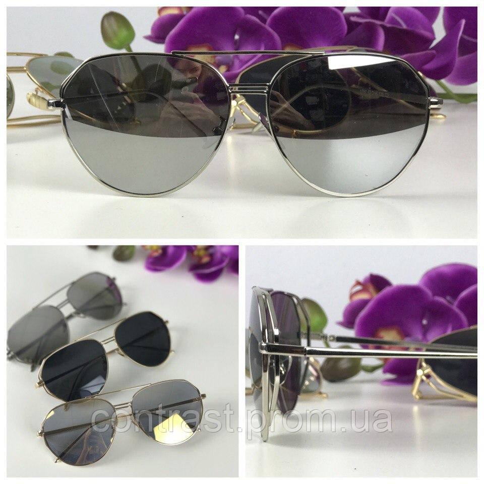 Стильные очки-авиаторы с деструктурированной оправой (серая линза)