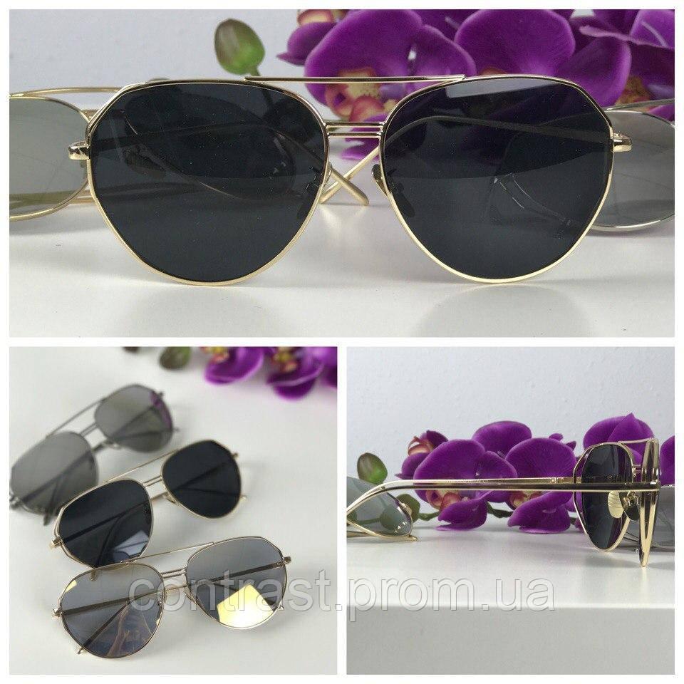 Стильные очки-авиаторы с деструктурированной оправой (черная линза)