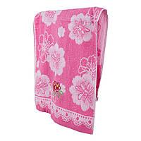 Розовое махровое полотенце для лица Две мальвы