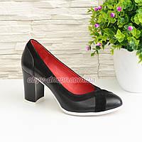 Туфли женские классические на каблуке, декорированы замшевыми вставками. 38 размер