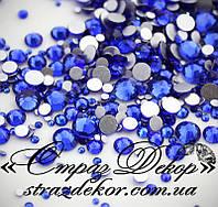 Стразы ss6 без клея Sapphire (синие) (100шт.) холодной фиксации, фото 1