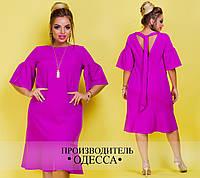 Женское красивое платье MIDI 507-ИН17Л / батал / фуксия (р. 46-60)