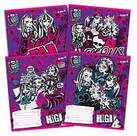Тетради «Monster High» 12 листов, косая линия