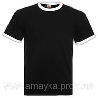 Мужская футболка Fruit of the loom (Ringer T). Черная с белой окантовкой.