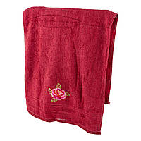 Красное махровое полотенце для лица Роза