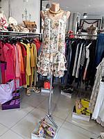 Дизайнерское летнее платье цветное шифоновое без рукавов