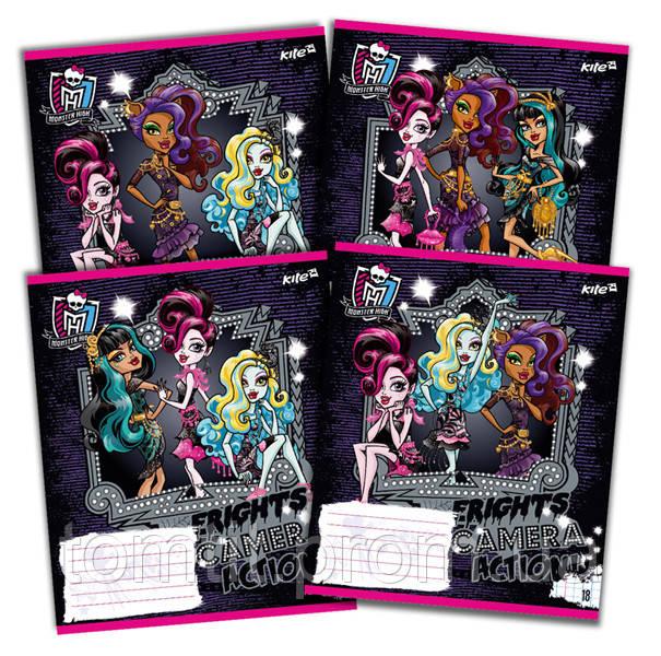 Тетради «Monster High» с глиттером (с блестками), 18 листов, клетка