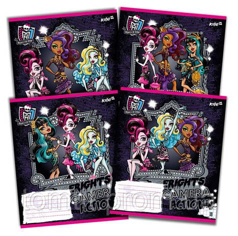 Тетради «Monster High» с глиттером (с блестками), 18 листов, клетка, фото 2