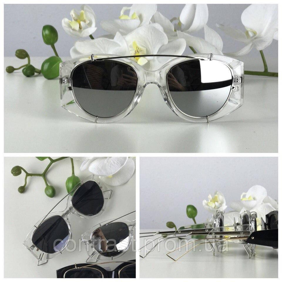 Ультрамодные очки-авиаторы с прозрачной оправой-оверсайз (линза металлик)