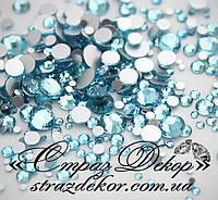 Стразы ss6 без клея Aquamarine (бирюзовые) (100шт.) холодной фиксации