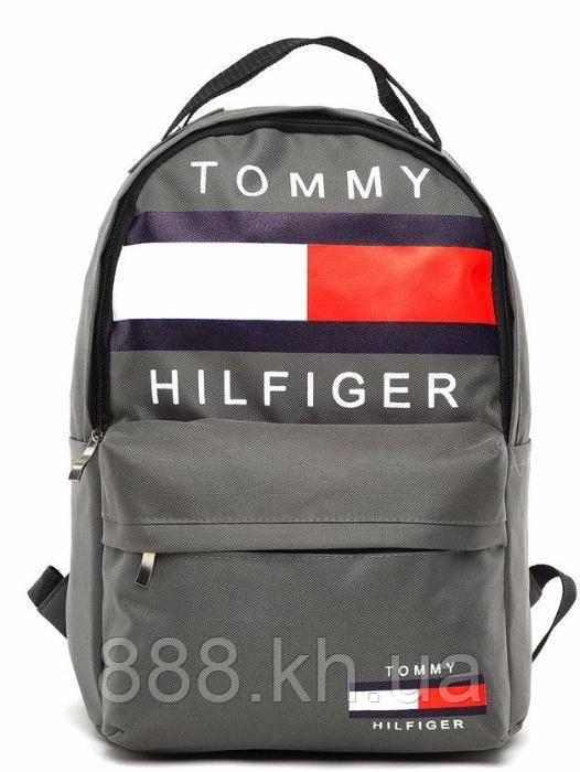 Городской рюкзак TOMMY HILFIGER серый, портфель для мальчика, портфель для девочки,портфель школьный не оригинал, фото 1