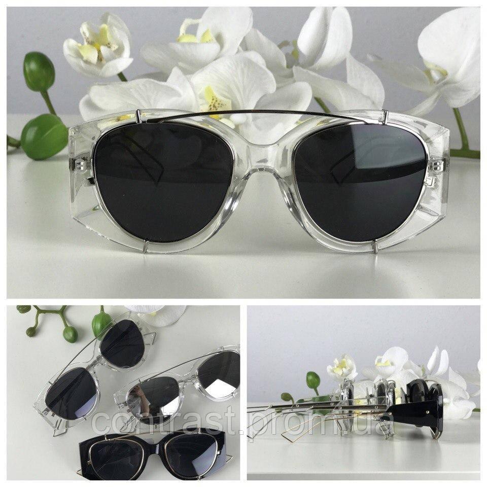 Ультрамодные очки-авиаторы с прозрачной оправой-оверсайз (черная линза)