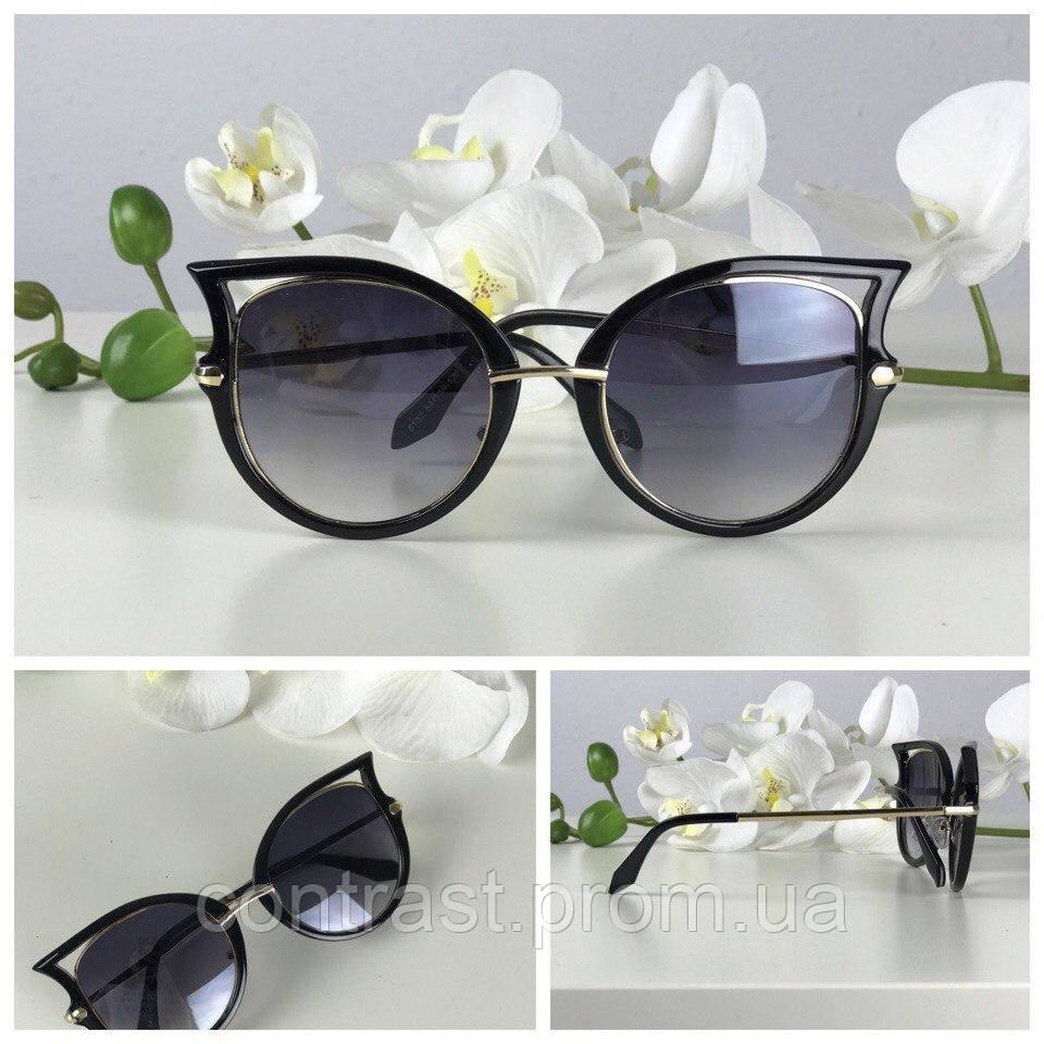 Оригинальные оверсайз-очки с оправой «стрекоза» (черная оправа с золотом)