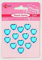 Набор голубых стразов в форме сердца на клеевой основе, 18 шт