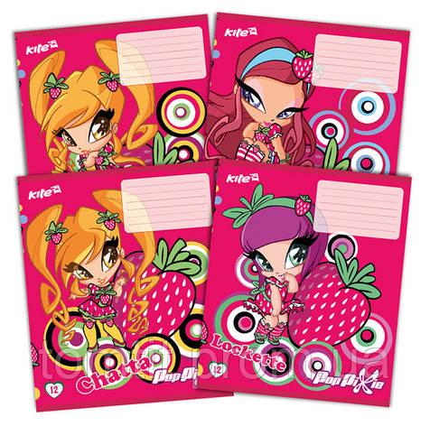 Тетради «Pop Pixie» с глиттером (с блестками), 12 листов, линия, фото 2