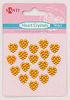 Набор желтых стразов-кристаллов в форме сердца на клеевой основе, 18 шт