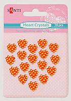 Набор оранжевых стразов-кристаллов в форме сердца на клеевой основе, 18 шт