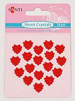 Набор красных стразов-кристаллов в форме сердца на клеевой основе, 18 шт