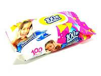 """Влажные салфетки для детей с клапаном """"100% чистоты"""" 100шт - Ромашка"""