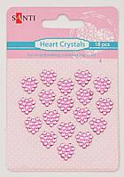 Набор розовых стразов-кристаллов в форме сердца на клеевой основе, 18 шт