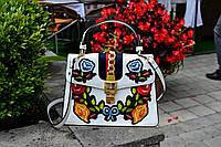 Модная женская белая сумка с вышивкой в стиле Gucci