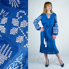 Вышитое женские платье джинсового цвета