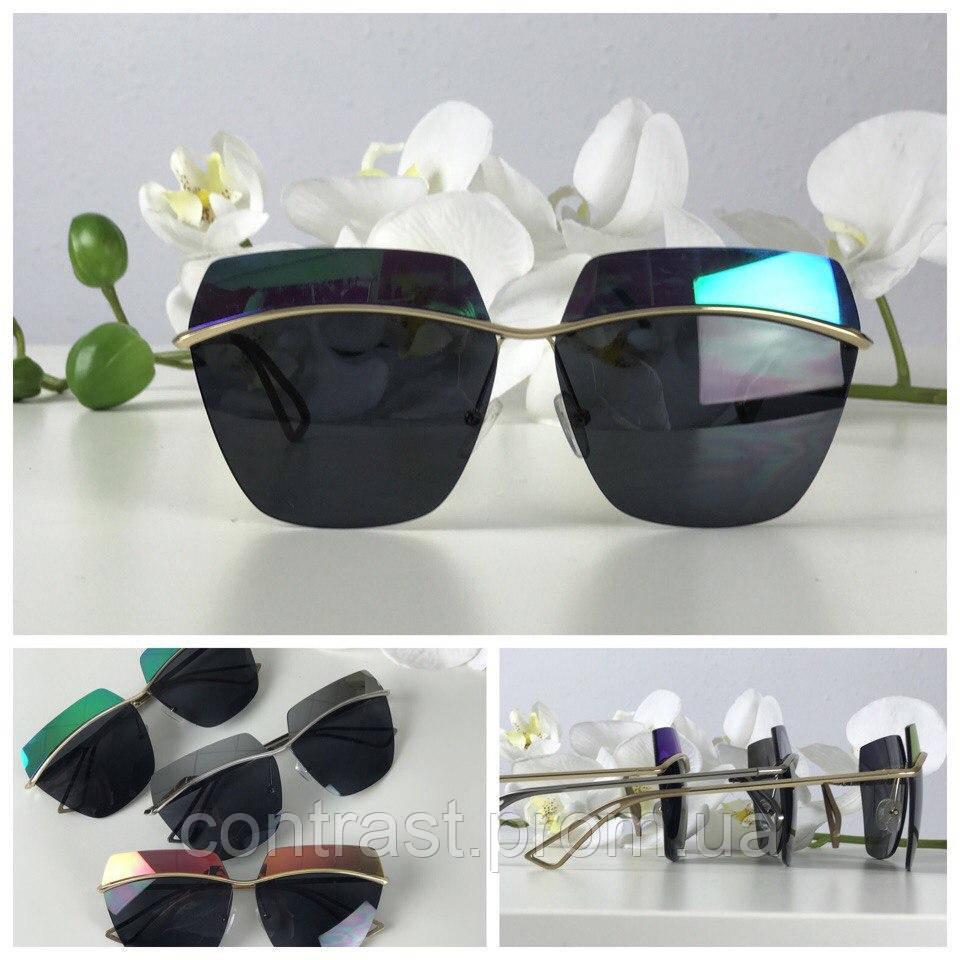 Шикарные очки с двухцветной линзой и деструктурированной оправой (зеленый перламутр)