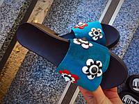 Шлёпки Fendi Цветы женские. Материал: бархат + натуральная кожа. Размерный ряд: 36-40.
