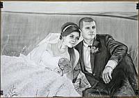 Заказать черно-белый портрет по фотографии формата А2 (2 человека)