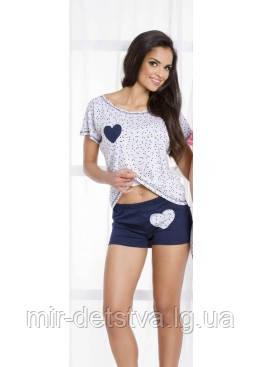 468fcc01f8e3d66 Женская хлопковая пижама (футболка+шорты)
