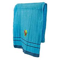 Голубое махровое полотенце для лица Цветник