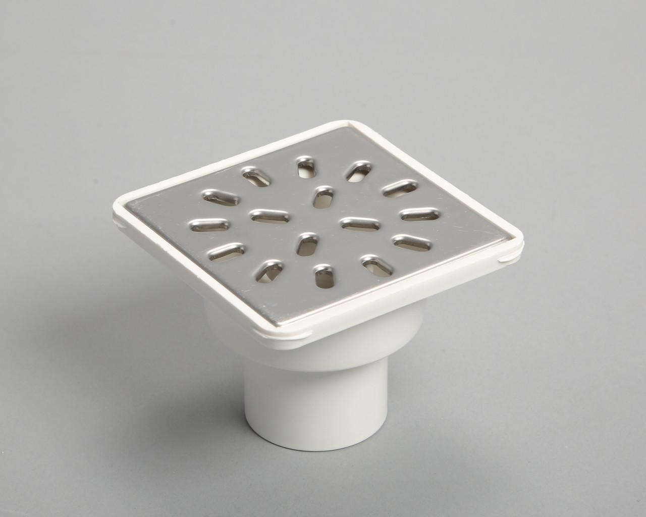 Трап для ванной вертикальный D50, решетка с нерж. стали 150х150мм, с гидрозатвором