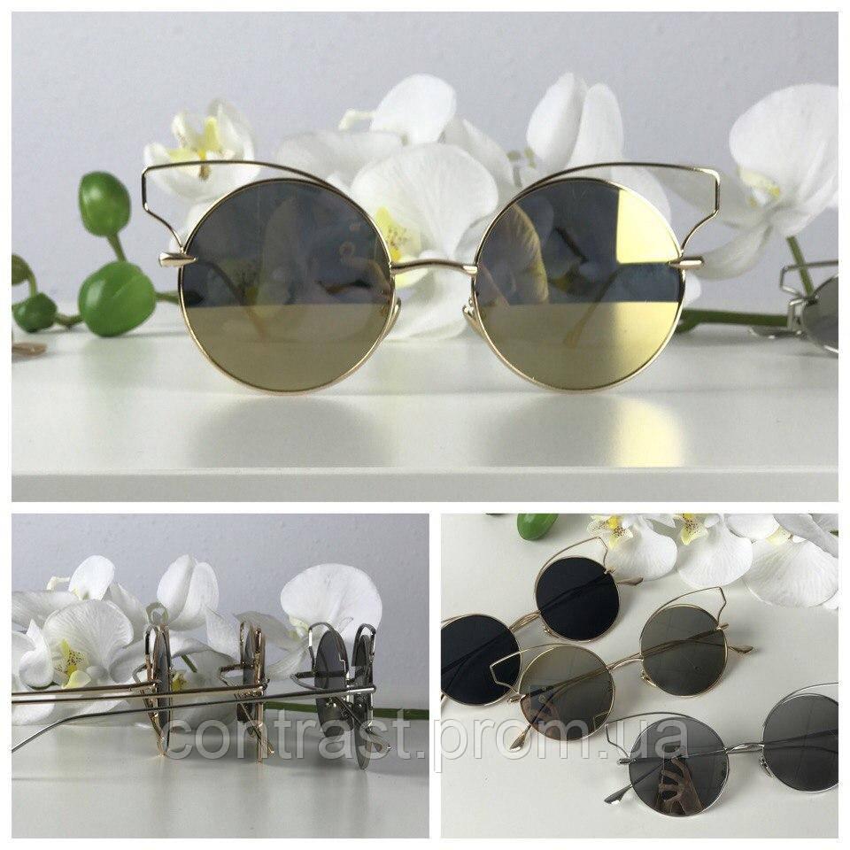 Оригинальные очки-тишейды с деструктурированной оправой (бронза)
