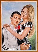 Заказать цветной портрет по фотографии формата А3 (2 человека)