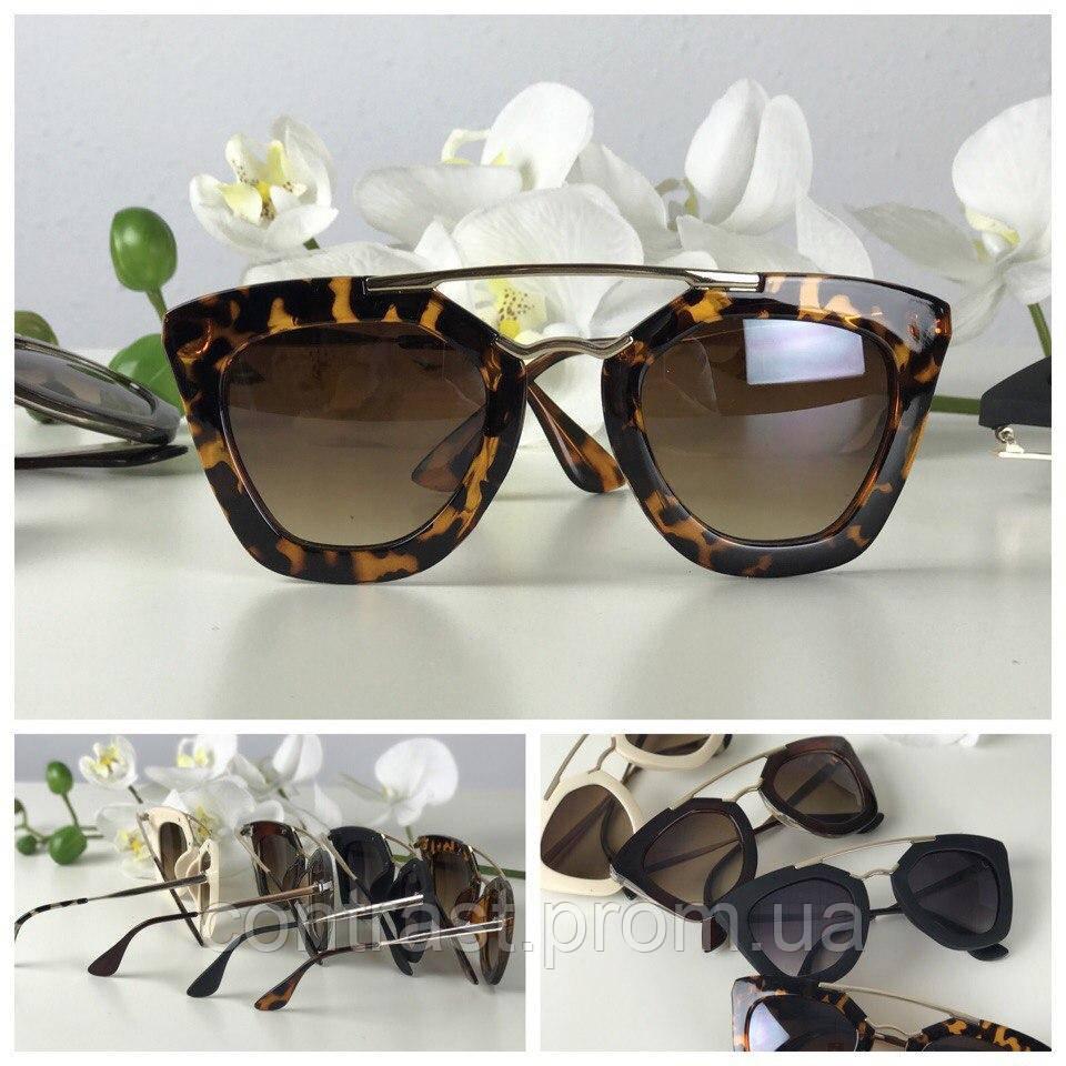 Идеальные оверсайз-очки с широкой полимерной оправой (леопард)