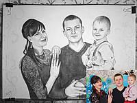 Заказать цветной или черно-белый портрет по фотографии формата А2 (3 человека)