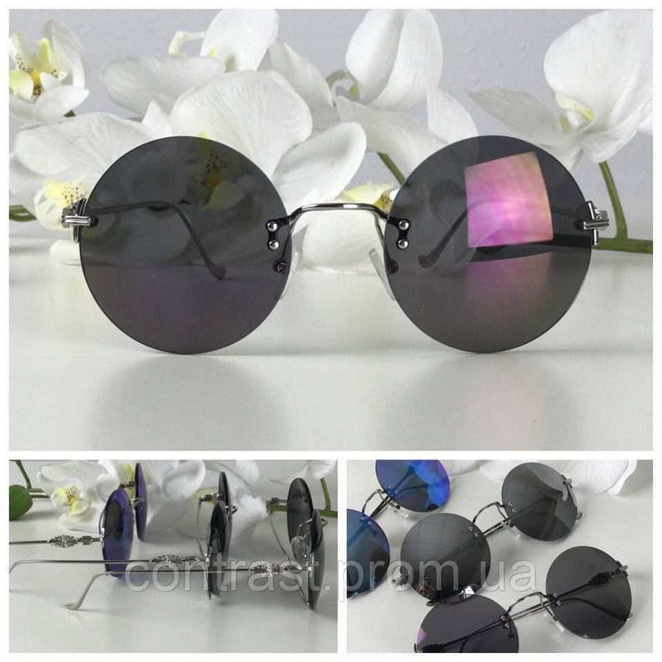 Классические круглые очки с изящной металлической оправой (графит)