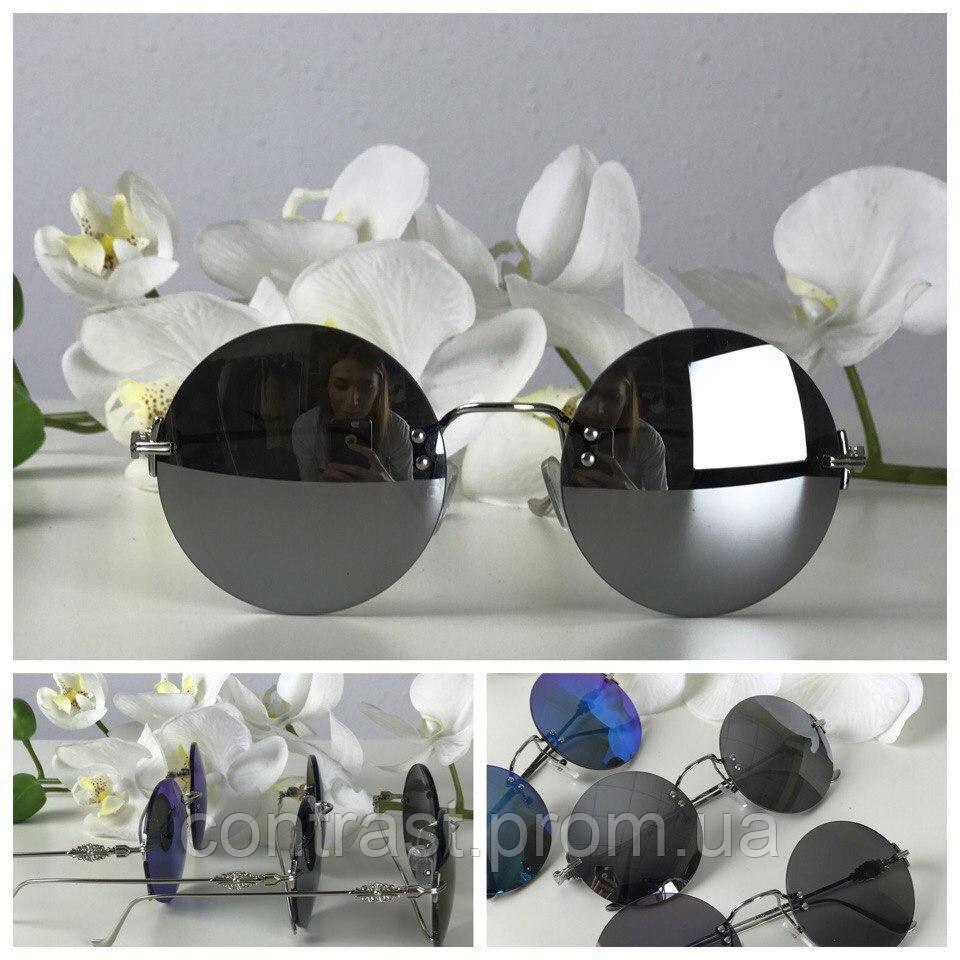 Классические круглые очки с изящной металлической оправой (черный)