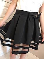 Стильная школьная юбка с бантом, р-ры:122-152.