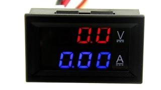 Амперметр-вольтметр цифровой DC0-100V/ 10A красно-синего свечения