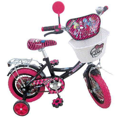 """Велосипед детский """"Monster High"""" (Монстр Хай) 12"""", розовые колеса."""