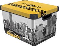 Декоративная коробка с крышкой Такси-Нью-Йорк STOCKHOLM L Curver 213238