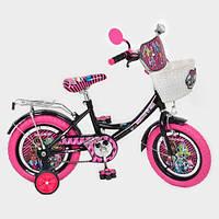 """Велосипед детский """"Monster High"""" (Монстр Хай) 14"""", розовые колеса."""