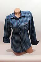 Рубашка синяя с бирюзой в клетку (38-44р)