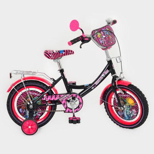 """Детский велосипед """"Monster High"""" (Монстр Хай) 14"""", черные колеса."""