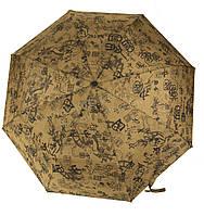 Женский симпатичный прочный зонтик полуавтомат art. 2001 коричневый/иероглифы (101300)