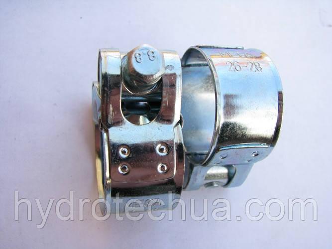 Хомут 26-28 W1 силовой HYDRO TECH стальной оцинкованный