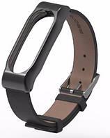 Mijobs Ремешок для спортивного браслета Mijobs Leather Band for Xiaomi MiBand 2 Black